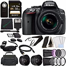 Nikon D5300 DSLR Camera with 18-55mm Lens (Black) + Sony 32GB UHS-I SDHC Memory Card (Class 10) + Remote + Flash + Cleaning Cloth Bundle