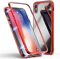samLIKE Handyhülle für iPhone XS MAX Magnet Hülle Transparent Hardcase 6.5 Zoll Schutzhülle Stoßfest Rückschale 360 ° Metallrahmen Schutz, Rücken Gehärtetes Glas (🍎 Rot)