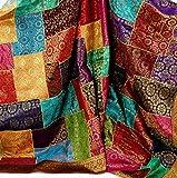 Guru-Shop Orientalische Patchwork Brokatdecke, Indische Tagesdecke, Mehrfarbig, Viskose, 270x220x0,5 cm, Patchwork Steppdecke aus Indien