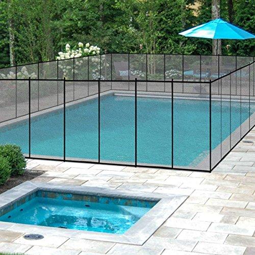 COSTWAY Barrière de Piscine Barrière de Protection pour Piscine Barriere Filet en Aluminium+Acier Inoxydable+Tissu 366x122cm Noire