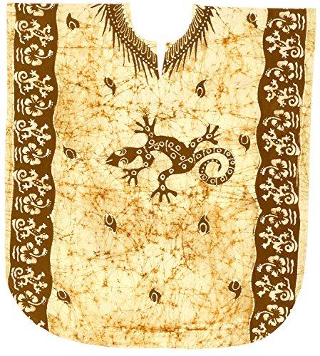 LA LEELA Frauen Damen Baumwolle Kaftan Tunika Batik Kimono freie Größe kurz Midi Party Kleid für Loungewear Urlaub Nachtwäsche Strand jeden Tag Kleider Braun_H550 -