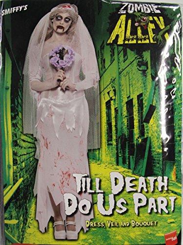 Zombie Braut Kleid mit Schleier und Strauß, (Kleid Kostüm Zerfetzte)