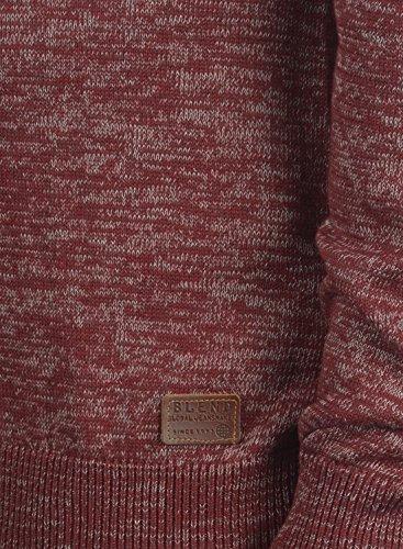 BLEND Danell Herren Strickpullover Feinstrick Pulli mit Rundhals-Ausschnitt samt Knopfleiste aus hochwertiger Baumwollmischung Meliert Andorra Red (73811)