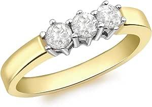 Carissima Gold, anello da donna in oro giallo 18kt con 3 diamanti 0.50kt