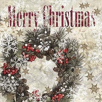 Corona de Navidad 20servilletas de papel Almuerzo Glamour Snowy elegante chic para decorar–3ply- 33x 33cm