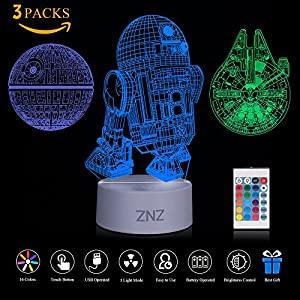 3D LED Lamp Night Light - ZNZ 16 Colors USB Operated Table Dimmable Night Light with Touch Switch Remote Control for Kids, 3D Lights Optical Illusions Desk Lamp for Room Decor