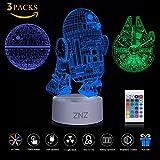3D LED Star Wars Nachtlicht, ZNZ Illusion Lampe Todesstern + R2-D2 + Millennium Falcon, drei Muster und 16 Farbwechsel Dekor Lampe - perfekte Geschenke für Kinder und Star Wars Fans - 3 Packs