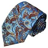 Lorenzo Cana - Modische Krawatte aus 100% Seide in den aktuellen Trendfarben - hellblau braun floral Paisley - 36012