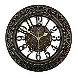 Foxtop 12 Zoll Vintage Retro Wanduhr (Ø) 30 cm ohne Ticken, Silent Nicht-tickende Wanduhr Uhr für Wohnzimmer Küche Schlafzimmer Dekoration