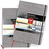 ARTEZA Bloc de dibujo con papel de acuarela | DIN A4 | Pack de 2 | 64 págs x 2 | Grosor 230 gsm | Encuadernados en lino | Cinta...
