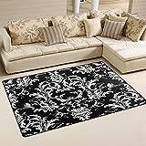 Use7 Damast-Teppich mit Blumen-Motiv, Rutschfest, Schwarz/Weiß, Textil, Mehrfarbig, 50 x 80 cm(1.7' x 2.6' ft)