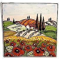 CERAMICHE D'ARTE PARRINI- Ceramica italiana artistica , mattonella decorazione paesaggio papaveri , fatta a mano made in ITALY Toscana