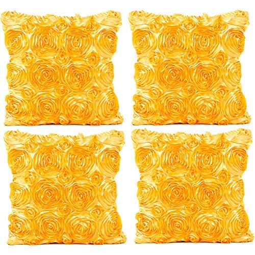 JOTOM Einfarbig Rose Kissenbezug,Seide Satins Kissenbezüge für Home Couch Sofa Dekorative, 40x40 cm, 4er Set (Gelb) (Seide Blumen Rosen Gelb)
