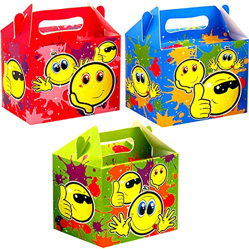 German Trendseller® - 8 x Party Smiley Boxen mit Griff zum Befüllen ┃ Smile ┃ Kindergeburtstag ┃ 8 x Überraschungsboxen