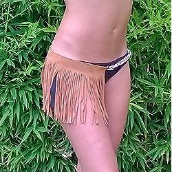 Skirt Minifalda en Cuero Piel Ante color Camel woman dress leather cuero By Texas Tribu