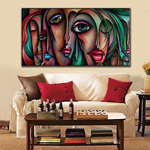 IPLST@ Pop Art Moderne peint à la main Sad Face Femmes Sexy Big Yeux Huile sur toile, peinture à l'huile main de mode peint pour le salon, chambre, décoration de salle à manger-20x40inch (Pas de cadre, sans civière)