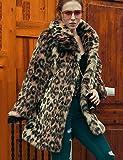 Erica Damen Leopard Retro Street Schick Anspruchsvoll Party Lässig/Alltäglich Übergröße Pelzmantel,Hemdkragen Winter Lange Ärmel Lang Kunst-Pelz , brown , l