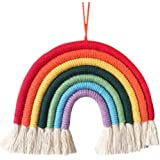 Arcoiris Colgante Pared,Tapices de Arco Iris Tejido a Mano Arco Iris Borla Dormitorio Tapiz Rainbow Colgante de Pared de Macr