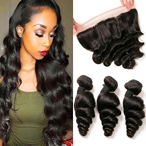 DAIMER Brazilian Hair with Ear to Ear Lace Frontal Free Part 4x13 Closure Plus 3 Bundles Brazilian Loose Wave Hair Weave 100 Human Hair Extension 20 22 24 +18 Frontal