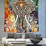 HCYHU Enipate Elefante Totem Print Indio Tapiz Pared Colgante Tapiz Bikini Playa Tirar Toalla Mandala Pared Decoración Tela De Mesa 100cm * 150CM