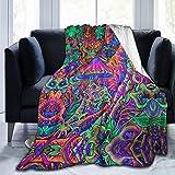 UKFaaa Couverture Polaire Trippy Champignons - Maillot de Bain Ultra Doux en Velours, Microfibre, Noir, 50