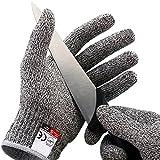 Amgaze Schnittschutzhandschuhe - Schnittschutzklasse Level 5 für Küche/Baustelle / Gartenbau/Schlachtung Schutz der Fingerhand (XL)