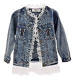 Giacca di Jeans Bambina, Moda Denim Giacca Manica Lunga Cappotto Con Orlo Di Pizzo Casuale Capispalla,2-10 anni