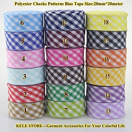 """Generic 3 lake blue : Free shipping--Polyester checks patterns bias tape, scotch bias binding Tape, size: 20mm, 3/4"""" *20meter sewing material DIY hand"""