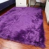 lililili Weichen Faux Schaffell Fell Stuhl Couch Decken Bereich Teppich für Schlafzimmer Sofa Wohnzimmer erdgeschoss Matte-Lila Durchmesser 70 cm (28 Zoll)