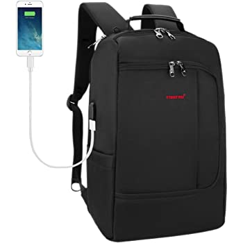 8ec5c11345d7 TIGERNU Slim Business Backpack with USB Charging Port Convertible Carry on  Travel Bag with Luggage Strap Fits 15 15.6 Inch Laptops for Men Women Black