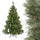 FAIRYTREES artificiale Albero di Natale ABETE SCANDINAVO, materiale PVC, vere pigne, incl. supporto in metallo, 220cm, FT16-220