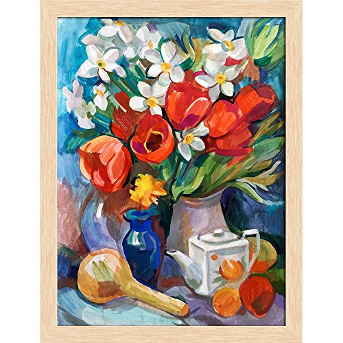 ArtzFolio Bouquet of Flowers D3 Canvas Painting Natural Brown Wood Frame 18 X 23.6Inch Bouquet Natural Wood