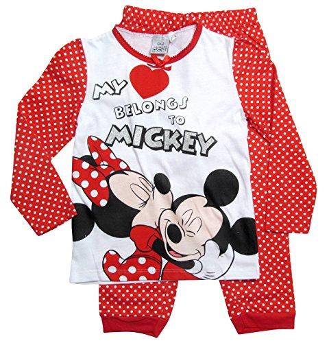 Minnie Mouse Ökotex Standard 100 Kollektion 2017 Pyjama 92 98 104 110 116 122 128 Mädchen Schlafanzug Neu Nachtwäsche Lang Maus Weiß-Rot (Weiß-Rot, 122-128; Prime) (Roter Schlafanzug Mädchen)