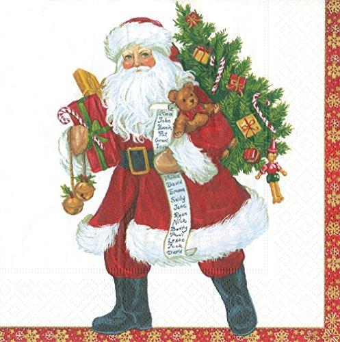Caspari Lynn Haney Cocktail-Servietten Santa Dinner rot - Caspari Dinner Servietten