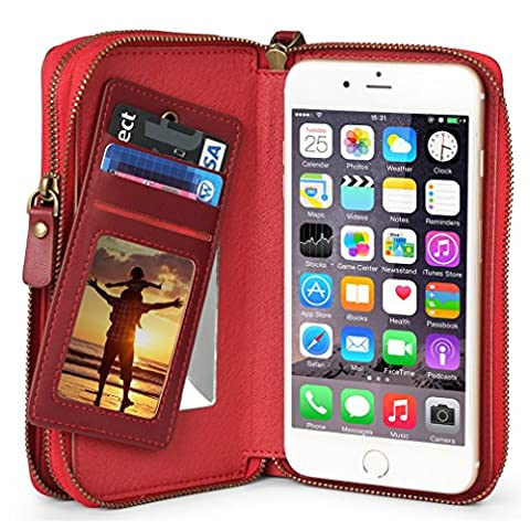 iPhone 6 Plus Wallet Case for Women / Man, TSCASE iPhone 7 Plus [Card Slots] Zipper Cash Storage Premium Flip Leather Wallet Case for iPhone 6s/6,iPhone 6/6s Plus, iPhone 7 Plus, iPhone 7, Samsung Galaxy S7,S7 Edge, LG G5 & Phone Size under 5.5 inch, Wine
