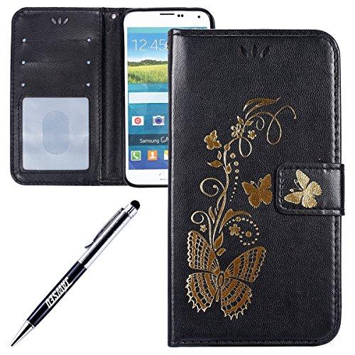 Kompatibel mit Galaxy S5 Hülle Hülle Luxus Gold Schmetterling Muster Lanyard/Strap Pu Leder Hülle Handytasche Brieftasche Etui Schutzhülle Flip Wallet Case Cover Schwarz - Schmetterling Lang Wallet
