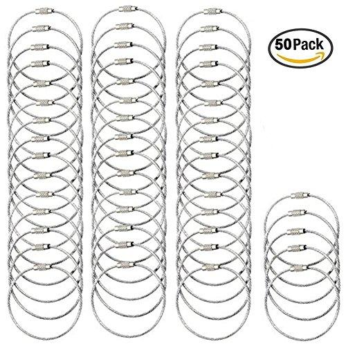 YoGou Farbige Stahldraht Keychain Kabel Schlangenkette Schluesselring Spiraldraht für hängende Gepäck Tag Keyrings und ID-Tag Keepers (Silber 50 Stück) (Gepäck 50)