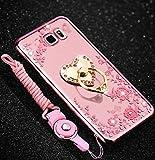 Herbests Kompatibel mit Samsung Galaxy S6 Edge Plus Silikonhülle Transparent Glitzer Handyhülle Diamant Strass Glänzend Silikon Handytasche Durchsichtig Schutzhülle mit Ring Ständer,Rose Gold