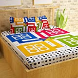 #1: Story@Home 152 TC Premium Vintage Collection 100% Cotton Ludo Print 1 Double Bedsheet With 2 Pillow Cover - Multicolor