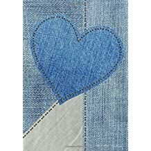 DOT Grid Journal: Blank Book Diary Notebook Denim Heart Cover: 7 x 10 size, 100 pages, perfect for Bullet Journaling!