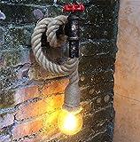 Sky-Welle Nostalgia Vintage Wandlampe Wandleuchte Industrie Hanfseil Design Hängeleuchte Lampe (Ohne Glühbirne)