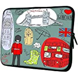 """Snoogg London Doodles 15"""" 15.5"""" 15.6"""" Inch Laptop Notebook Slipcase Sleeve Soft Case Carrying Case For MacBook Pro Acer Asus Dell Hp Sony Toshiba"""