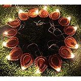 Kuber Industries Diwali Diya 2 Meter String Lights Diwali Lights for Decoration 20 Diya's Diwali Candle String Light Decorative Lights for Diwali (Brown)