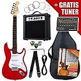 Rocktile ST Guitar Pack Set chitarra elettrica amplificatore custodia cavo rossa