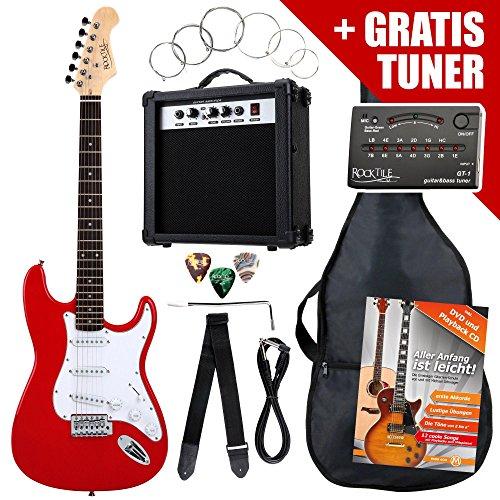Rocktile ST-Pack Komplettset E-Gitarre Rot (Verstärker, Stimmgerät, Tremolo, Tasche, Kabel, Gurt, Plecs, Ersatzsaiten und Schule mit CD/DVD)