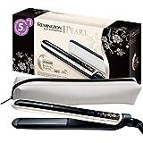 Remington Haarglätter Pearl S9500, LCD-Display, hochwertige Keramikbeschichtung mit echten Perlen, schwarz/creme