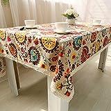 DKEyinx Böhmen ethnischen Stil Tischdecke Home Table Cover Dekor Baumwolle Leinen Blume, Baumwolle + Leinen 140cm x 180cm