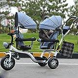 LZTET Twins Dreirad Kinderwagen Kinderwagen Faltbar und Multifunktional Hochwertigen Kinderwagen,GreyB