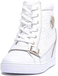 faf3c439634b Guess Femme Sneaker en Cuir avec Article Blanc Coin intérieur FLIOE1 LEA12 White  Nouvelle Collection Printemps