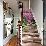 DIY Renovierung Dekoration Tapete 3D Kirschblüte Pfad Landschaft Treppen Aufkleber Hause Umwelt Schutz Wasserdicht 13 Stücke (39 4 Zoll × 7 Zoll)